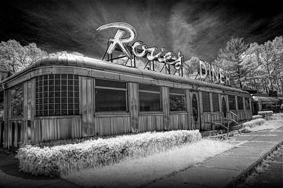 Historic Rosie's Diner In Black And White Infrared Poster