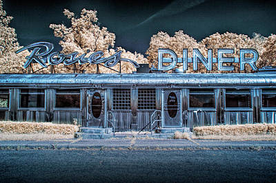Historic Rosie's Diner In Infrared Near Rockford Michigan Poster