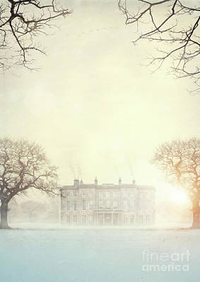 Historic Stately Home In Winter At Sunset Poster