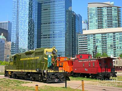 Historic Train Engine And Caboose At Roundhouse Park Toronto Poster by John Malone