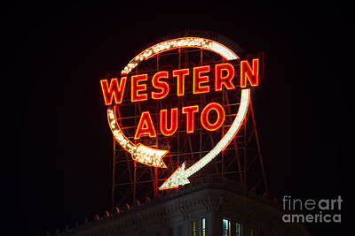 Historic Western Auto Sign Poster by Jean Hutchison