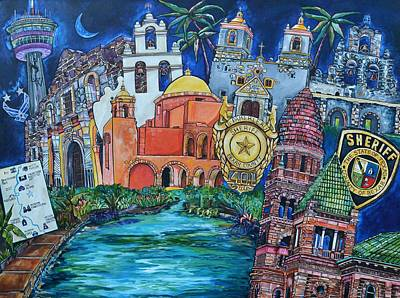 Poster featuring the painting Historical 401s San Antonio by Patti Schermerhorn