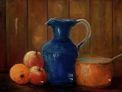Poster featuring the painting Historical Jamestown Virginia Blue Colbalt Pitcher  by Bernadette Krupa
