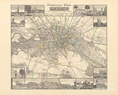 Historical Map Of Berlin, 1838 Poster