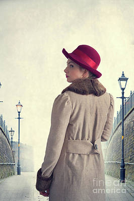 Historical Woman In An Overcoat And Red Hat Poster by Lee Avison