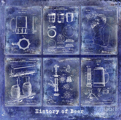 History Of Beer Patents Blue Poster by Jon Neidert