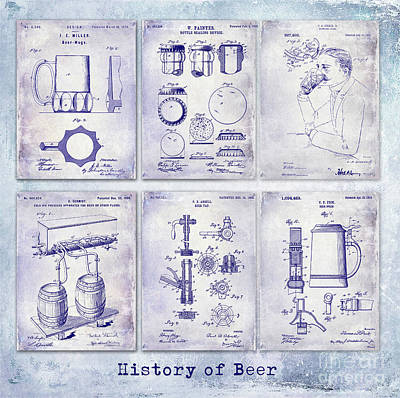 History Of Beer Patents Blueprint Poster by Jon Neidert