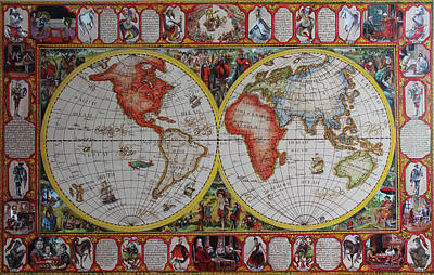 History Of Chess World Map Painted On Leatheder Poster