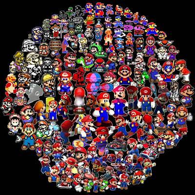 History Of Mario Mosaic Poster
