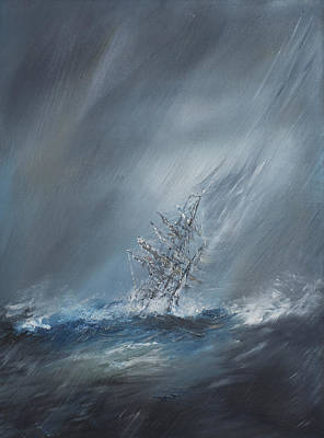 Hms Beagle In Storm Off Cape Horn Poster by Vincent Alexander Booth