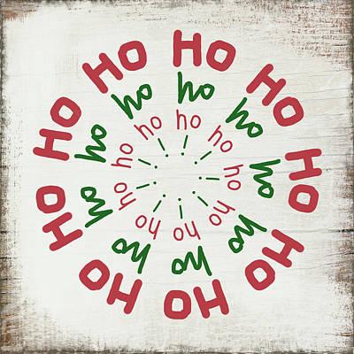 Ho Ho Ho Wreath- Art By Linda Woods Poster