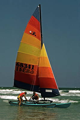 Hobie Cat In Surf Poster by Sally Weigand