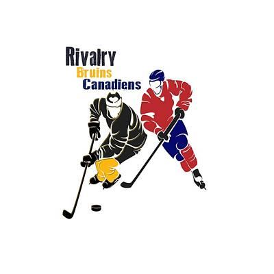 Hockey Rivalry Bruins Canadiens Shirt Poster by Joe Hamilton