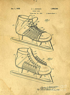 Hockey Skates Patent Art Blueprint Drawing Poster by Edward Fielding