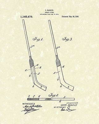 Hockey Stick Mcniece 1916 Patent Art Poster