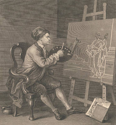 Hogarth Painting The Comic Muse Poster