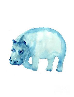 Hippo Drawing Minimalist Painting Poster by Joanna Szmerdt