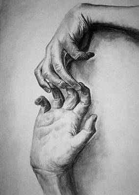Poster featuring the drawing Hold On by Rachel Hames