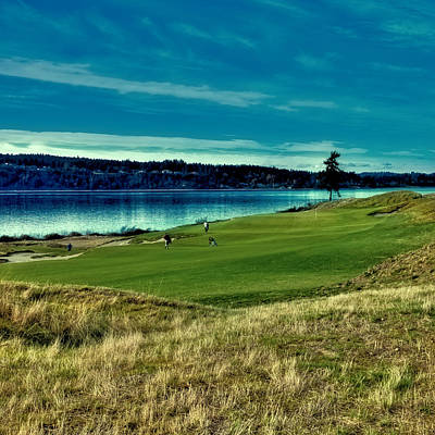 Hole #2 At Chambers Bay Poster by David Patterson