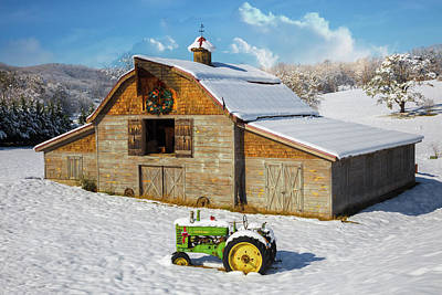 Holiday Barn And Tractor In The Snow Poster