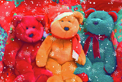 Poster featuring the photograph Holiday Bears by Diane Alexander