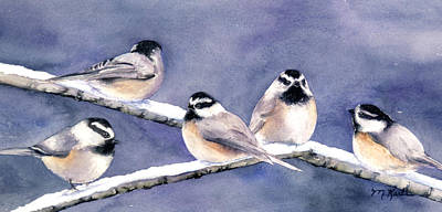 Holiday Chickadees Poster