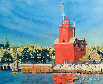 Poster featuring the painting Holland Lighthouse - Big Red by LeAnne Sowa