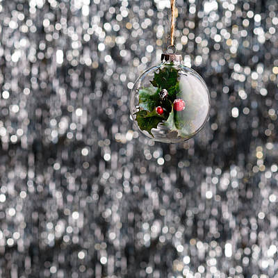 Poster featuring the photograph Holly Christmas Bauble  by Ulrich Schade