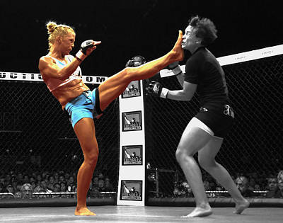 Holly Holm Kicking Jan Finney Poster