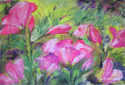 Poster featuring the painting Hollyhock Breeze by Susan Herbst