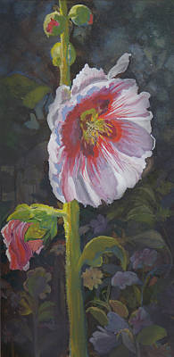 Hollyhock Poster by Heather Coen