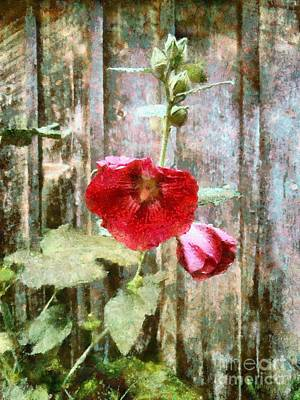 Poster featuring the photograph Hollyhock On Weathered Wood - Remember The Days by Janine Riley