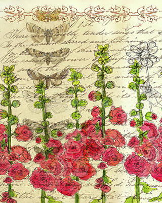 Poster featuring the drawing Hollyhocks And Butterflies  by Cathie Richardson