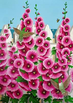 Hollyhocks And Humming Birds Poster