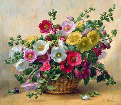 Hollyhocks In A Basket Poster by Albert Williams