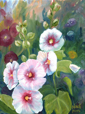 Poster featuring the painting Hollyhocks by Renate Nadi Wesley