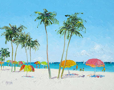 Hollywood Beach Florida And Coconut Palms Poster by Jan Matson