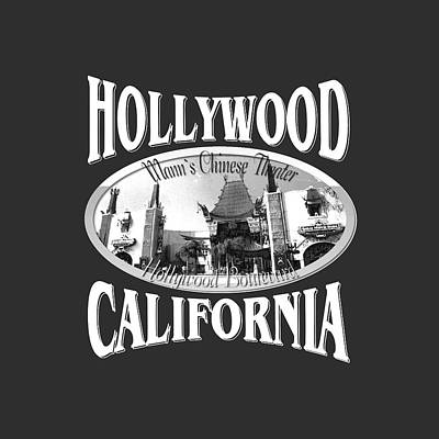 Hollywood California Tshirt Design Poster