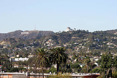 Hollywood Hills From Sunset Blvd Poster