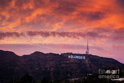 Hollywood Sign At Sunset Poster by Konstantin Sutyagin