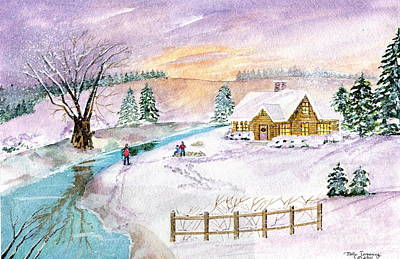 Poster featuring the painting Home For Christmas by Melly Terpening