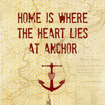 Home Is Philadelphia Anchor Poster by Brandi Fitzgerald