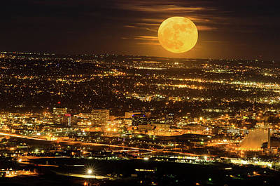 Home Sweet Hometown Bathed In The Glow Of The Super Moon  Poster