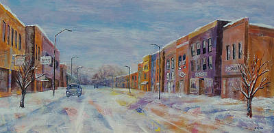 Poster featuring the painting Hometown Winter by Susan DeLain