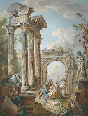 Homily Of An Apostle In Roman Ruins Poster by Circle of Giovanni Paolo Panini