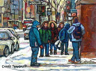 Original Paintings For Sale Rue Metcalfe Centre Ville Montreal Winter Street Scene Poster by Carole Spandau
