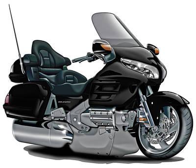 Honda Goldwing Black Bike Poster