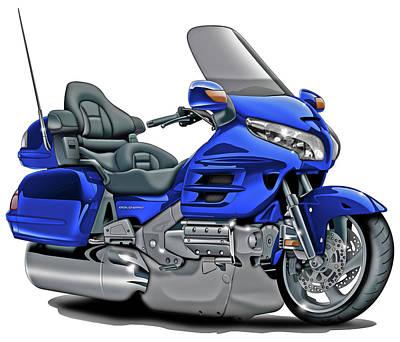 Honda Goldwing Blue Bike Poster