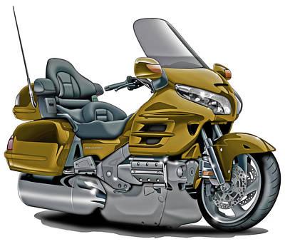 Honda Goldwing Gold Bike Poster