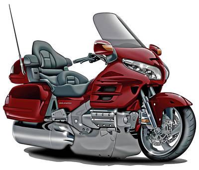 Honda Goldwing Maroon Bike Poster
